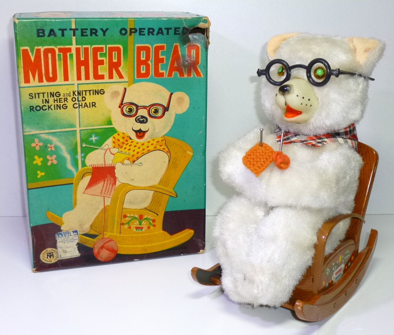 MT / Masudaya # 1950's Mother Bear in her Old Rocking Chair , Battery Toy.