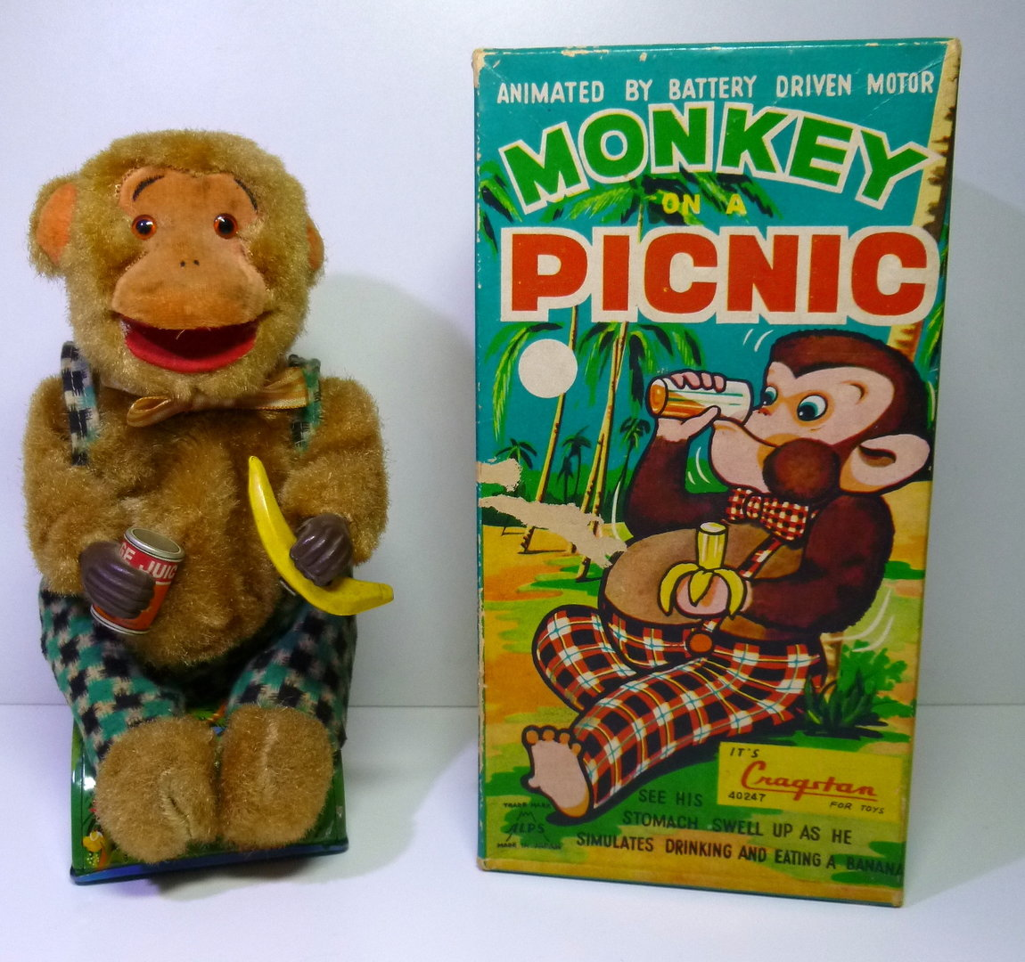 "ALPS / Cragstan (Japan) # 1950's ""MONKEY on a PICNIC"" battery-toy in Original Box !!"