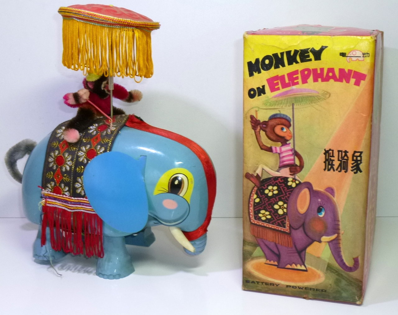 Vintage Chinese B/O ME 776 # 1960's MONKEY on ELEPHANT in Original Box !!