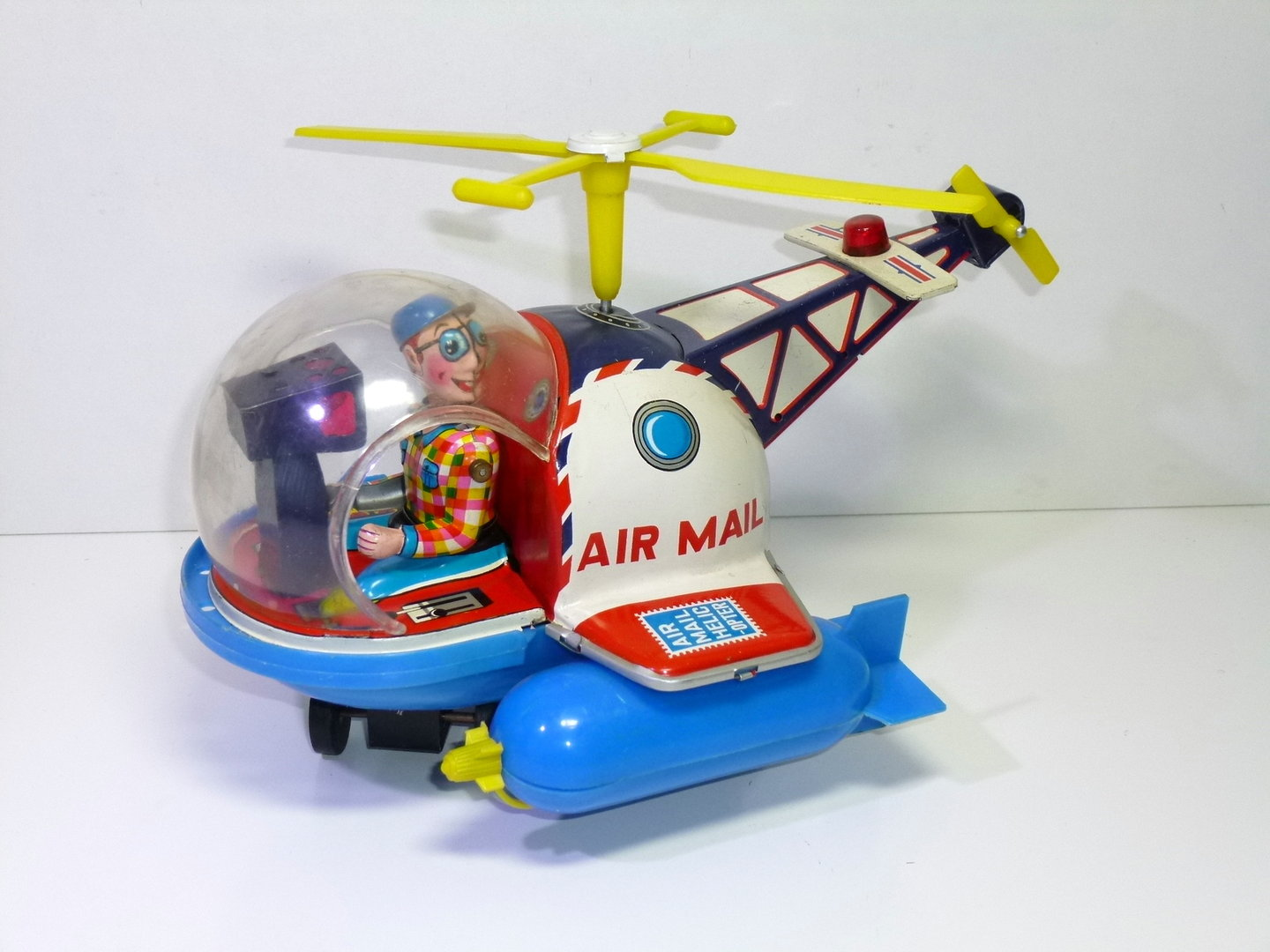 Yoshiya / KO-Toys (Japan) # 1960's AIR MAIL HELICOPTER , battery operated .