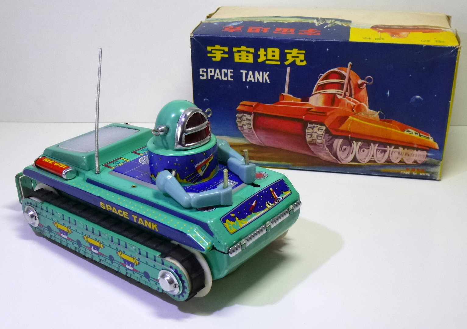 Tin Space Tank ME-091 from the ROBBY THE ROBOT series, Battery Operated in Original Box