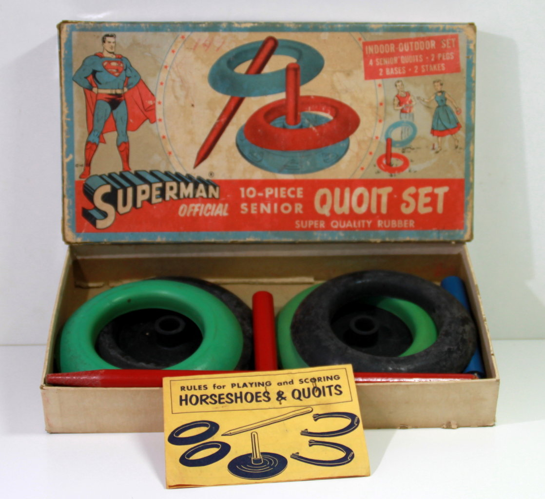 Superman Official 1950's Ringwerpspel / Quoit-set in doos !!