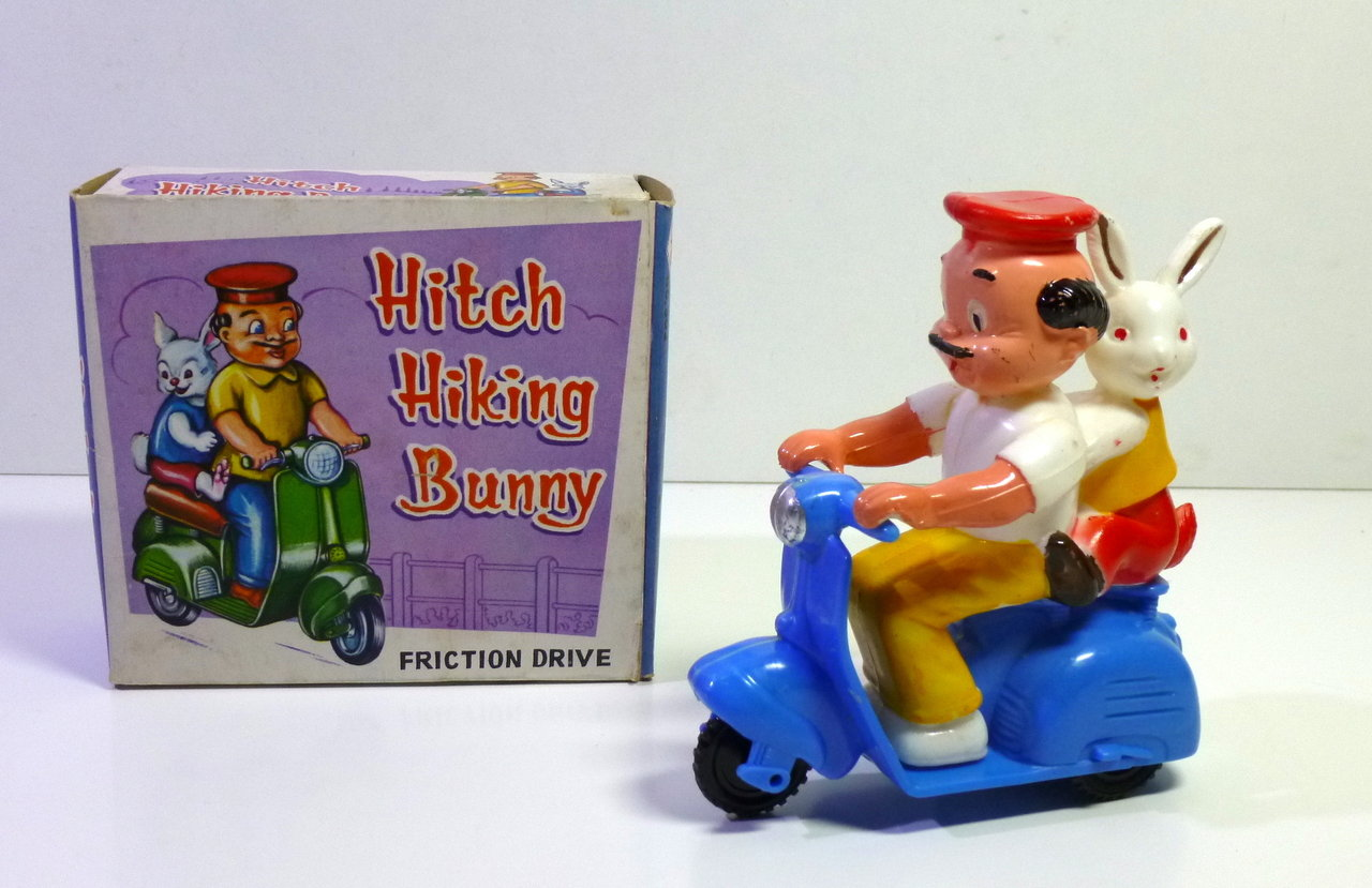 SH Toys (HongKong) # 1960's Hitch Hiking Bunny Scooter in original Box