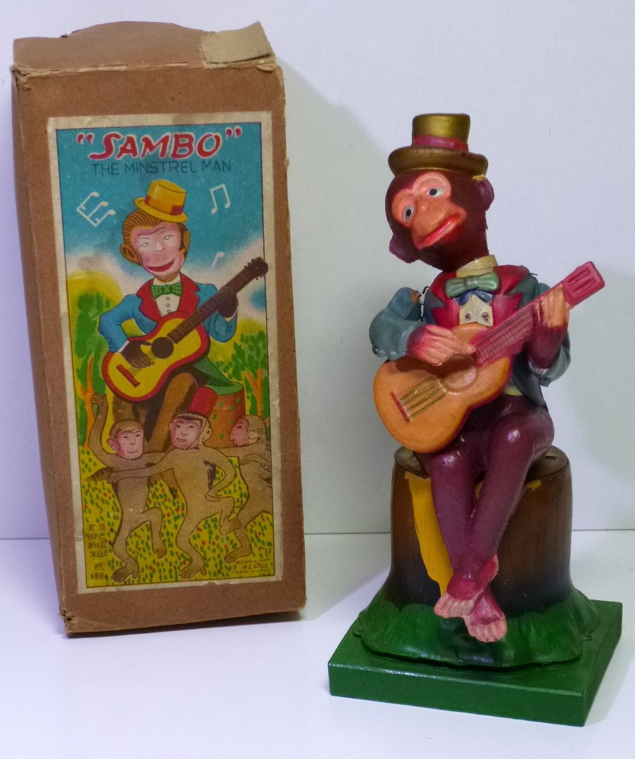"ALPS (Japan) # 1950's Celluloid ""SAMBO"" the Minstrel Man in Original Box !!"