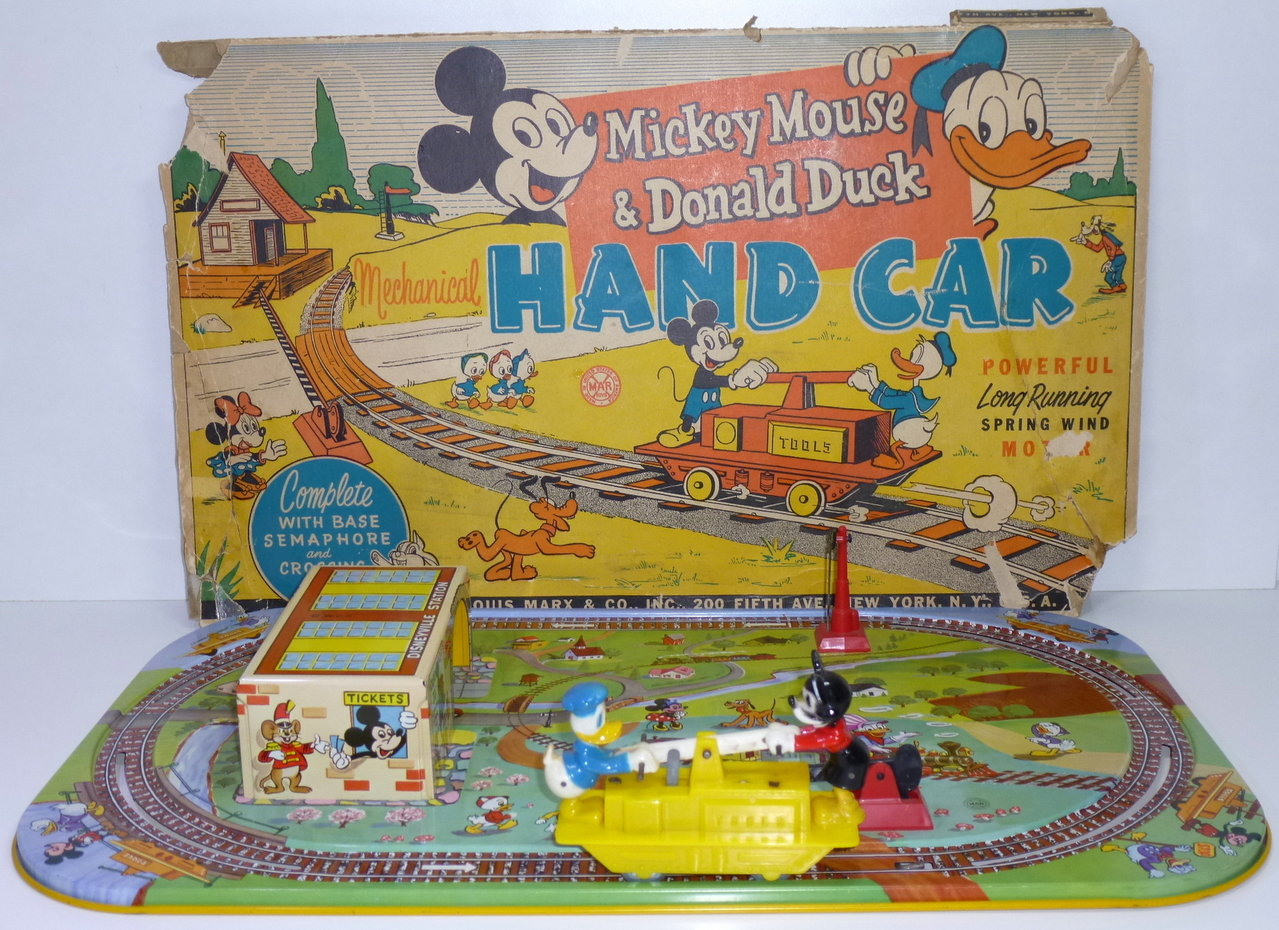 Marx (USA) # 1950's Mechanical MICKEY MOUSE & DONALD DUCK HAND-CAR
